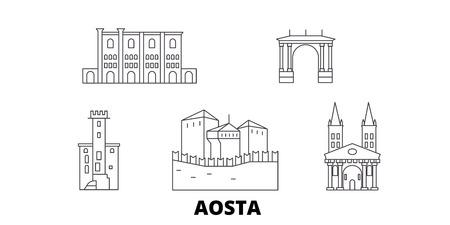 Italy, Aosta line travel skyline set. Italy, Aosta outline city vector panorama, illustration, travel sights, landmarks, streets.