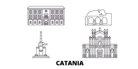 Italy, Catania line travel skyline set. Italy, Catania outline city vector panorama, illustration, travel sights, landmarks, streets.