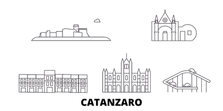 Italy, Catanzaro line travel skyline set. Italy, Catanzaro outline city vector panorama, illustration, travel sights, landmarks, streets. Illustration