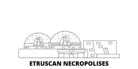 Italy, Cerveteri, Etruscan Necropolises line travel skyline set. Italy, Cerveteri, Etruscan Necropolises outline city vector panorama, illustration, travel sights, landmarks, streets. Archivio Fotografico - 120565670