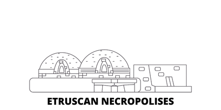 Italy, Cerveteri, Etruscan Necropolises line travel skyline set. Italy, Cerveteri, Etruscan Necropolises outline city vector panorama, illustration, travel sights, landmarks, streets.