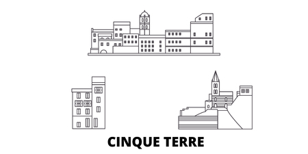 Italy, Cinque Terre line travel skyline set. Italy, Cinque Terre outline city vector panorama, illustration, travel sights, landmarks, streets.