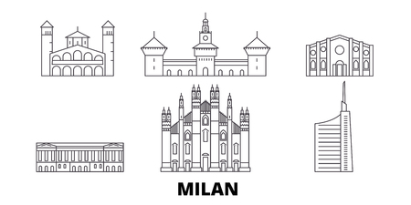 Italia, Milán, la línea del horizonte de viaje. Italia, Milán, panorama de vector de la ciudad de contorno, ilustración, lugares turísticos, monumentos, calles.