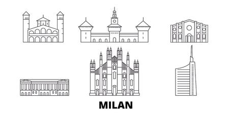 Italia, Milano linea skyline di viaggio insieme. L'Italia, Milano outline vettore città panorama, illustrazione, siti di viaggi, punti di riferimento, strade.