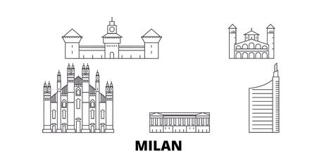 Italia, Milano City line skyline di viaggio impostato. L'Italia, Milano City outline vettore della città panorama, illustrazione, siti di viaggi, punti di riferimento, strade. Vettoriali