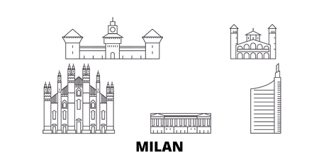 Italy, Milan City line travel skyline set. Italy, Milan City outline city vector panorama, illustration, travel sights, landmarks, streets. Illusztráció
