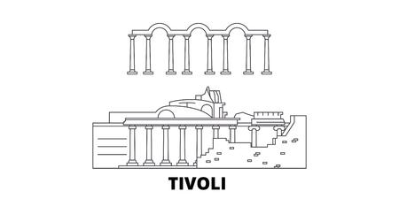 L'Italie, Tivoli, Villa Adriana line travel skyline set. L'Italie, Tivoli, Villa Adriana contours panorama vectoriel de la ville, illustration, sites touristiques, monuments, rues.