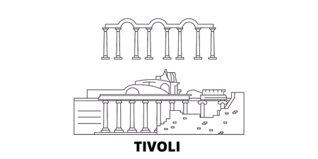 Italy, Tivoli, Villa Adriana line travel skyline set. Italy, Tivoli, Villa Adriana outline city vector panorama, illustration, travel sights, landmarks, streets.