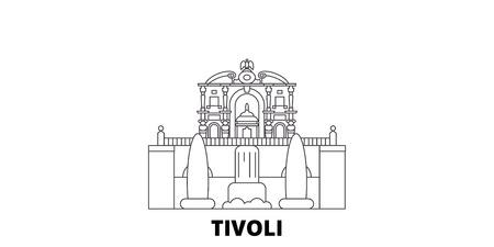 Italien, Tivoli, Villa Deste Linie Reisen Skyline Set. Italien, Tivoli, Villa Deste skizzieren Stadtvektorpanorama, Illustration, Reisesehenswürdigkeiten, Sehenswürdigkeiten, Straßen. Vektorgrafik