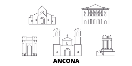 Italy, Ancona line travel skyline set. Italy, Ancona outline city vector panorama, illustration, travel sights, landmarks, streets.