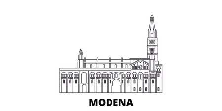 Italy, Modena line travel skyline set. Italy, Modena outline city vector panorama, illustration, travel sights, landmarks, streets. Stock Vector - 120628321