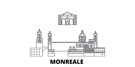 Italy, Monreale line travel skyline set. Italy, Monreale outline city vector panorama, illustration, travel sights, landmarks, streets.