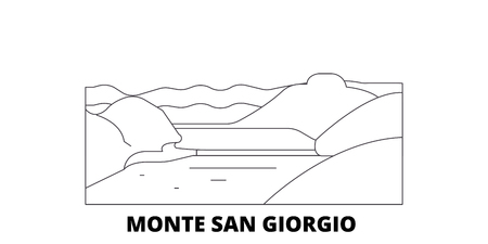 Italy, Monte San Giorgio  line travel skyline set. Italy, Monte San Giorgio  outline city vector panorama, illustration, travel sights, landmarks, streets. Ilustrace