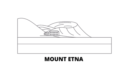 Italy, Mount Etna  line travel skyline set. Italy, Mount Etna  outline city vector panorama, illustration, travel sights, landmarks, streets.