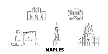 Italy, Naples line travel skyline set. Italy, Naples outline city vector panorama, illustration, travel sights, landmarks, streets. Illustration