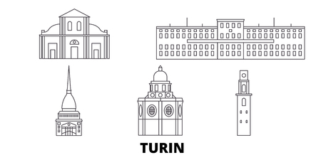 Italy, Turin line travel skyline set. Italy, Turin outline city vector panorama, illustration, travel sights, landmarks, streets. Banco de Imagens - 123962769