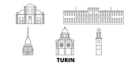 Italy, Turin line travel skyline set. Italy, Turin outline city vector panorama, illustration, travel sights, landmarks, streets.