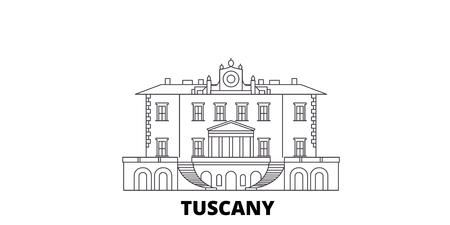 Italien, Toskana, Medici-Villen und Gärten Linie reisen Skyline. Italien, Toskana, Medici-Villen und Gärten skizzieren Stadtvektorpanorama, Illustration, Reiseanblicke, Sehenswürdigkeiten, Straßen.