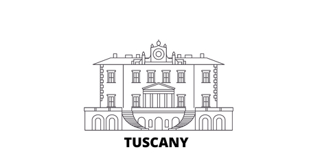 Italy, Tuscany, Medici Villas And Gardens line travel skyline set. Italy, Tuscany, Medici Villas And Gardens outline city vector panorama, illustration, travel sights, landmarks, streets. Иллюстрация