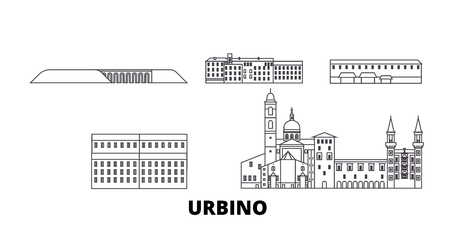 Italy, Urbino line travel skyline set. Italy, Urbino outline city vector panorama, illustration, travel sights, landmarks, streets. Illustration