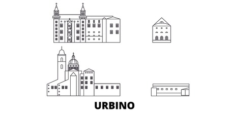 Italy, Urbino City line travel skyline set. Italy, Urbino City outline city vector panorama, illustration, travel sights, landmarks, streets.