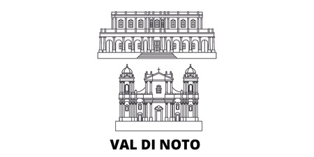 Italy, Val Di Noto line travel skyline set. Italy, Val Di Noto outline city vector panorama, illustration, travel sights, landmarks, streets.