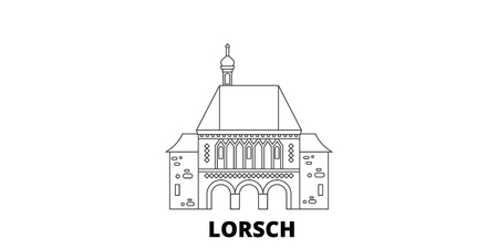 Germany, Lorsch line travel skyline set. Germany, Lorsch outline city vector panorama, illustration, travel sights, landmarks, streets.