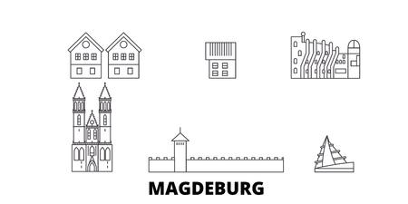 Germany, Magdeburg line travel skyline set. Germany, Magdeburg outline city vector panorama, illustration, travel sights, landmarks, streets. Archivio Fotografico - 120628476