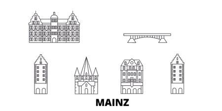 Deutschland, Mainz Linie Reisen Skyline Set. Deutschland, Mainz umreißen Stadtvektorpanorama, Illustration, Reisesehenswürdigkeiten, Sehenswürdigkeiten, Straßen.