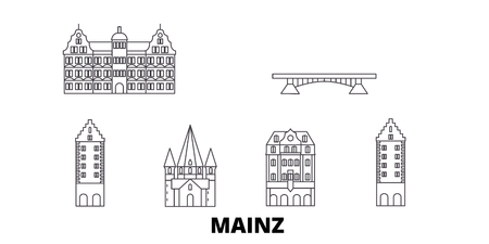 Germany, Mainz line travel skyline set. Germany, Mainz outline city vector panorama, illustration, travel sights, landmarks, streets.