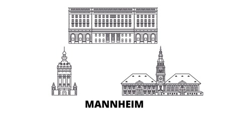 Germany, Mannheim line travel skyline set. Germany, Mannheim outline city vector panorama, illustration, travel sights, landmarks, streets.