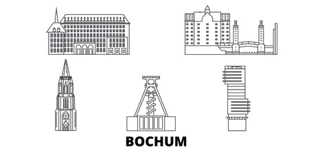 Germany, Bochum line travel skyline set. Germany, Bochum outline city vector panorama, illustration, travel sights, landmarks, streets.