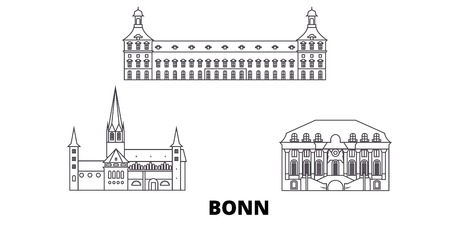 Germany, Bonn line travel skyline set. Germany, Bonn outline city vector panorama, illustration, travel sights, landmarks, streets.