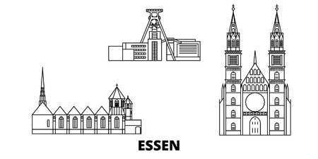 Germany, Essen line travel skyline set. Germany, Essen outline city vector panorama, illustration, travel sights, landmarks, streets.