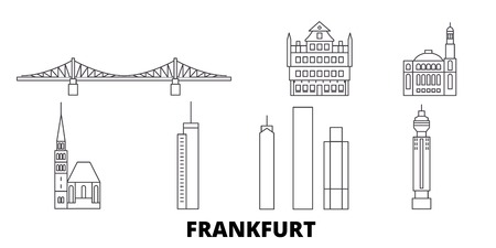 Germany, Frankfurt line travel skyline set. Germany, Frankfurt outline city vector panorama, illustration, travel sights, landmarks, streets. 写真素材 - 123962771