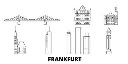 Germany, Frankfurt line travel skyline set. Germany, Frankfurt outline city vector panorama, illustration, travel sights, landmarks, streets.