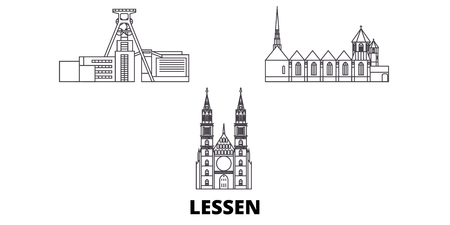 Germany, Lessen line travel skyline set. Germany, Lessen outline city vector panorama, illustration, travel sights, landmarks, streets.