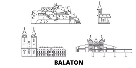 Hungary, Balaton line travel skyline set. Hungary, Balaton outline city vector panorama, illustration, travel sights, landmarks, streets. Reklamní fotografie - 123962772