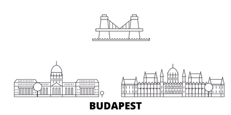 Hungary, Budapest line travel skyline set. Hungary, Budapest outline city vector panorama, illustration, travel sights, landmarks, streets.