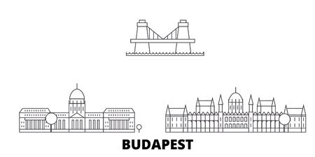 Hungary, Budapest line travel skyline set. Hungary, Budapest outline city vector panorama, illustration, travel sights, landmarks, streets.