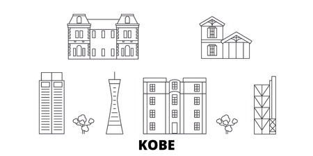 Japan, Kobe line travel skyline set. Japan, Kobe outline city vector panorama, illustration, travel sights, landmarks, streets.