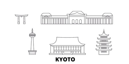 Japan, Kyoto line travel skyline set. Japan, Kyoto outline city vector panorama, illustration, travel sights, landmarks, streets.