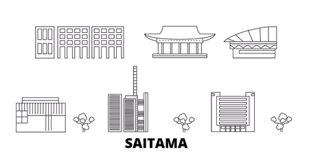 Japan, Saitama line travel skyline set. Japan, Saitama outline city vector panorama, illustration, travel sights, landmarks, streets. 일러스트