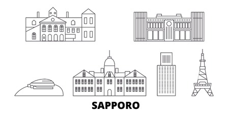 Japan, Sapporo line travel skyline set. Japan, Sapporo outline city vector panorama, illustration, travel sights, landmarks, streets. Stock Vector - 120628063