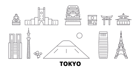 Japan, Tokyo line travel skyline set. Japan, Tokyo outline city vector panorama, illustration, travel sights, landmarks, streets.