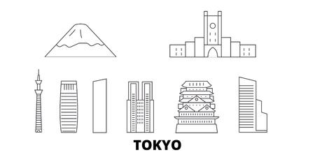 Japan, Tokyo City Line Reisen Skyline Set. Japan, Tokyo City skizzieren Stadtvektorpanorama, Illustration, Reisesehenswürdigkeiten, Sehenswürdigkeiten, Straßen. Vektorgrafik