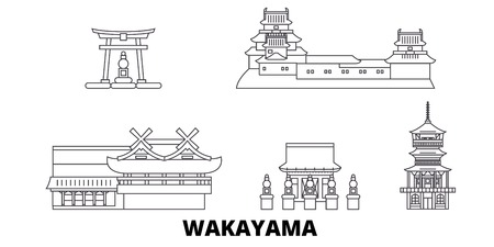 Japan, Wakayama line travel skyline set. Japan, Wakayama outline city vector panorama, illustration, travel sights, landmarks, streets.