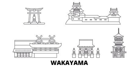 Japan, Wakayama line travel skyline set. Japan, Wakayama outline city vector panorama, illustration, travel sights, landmarks, streets.