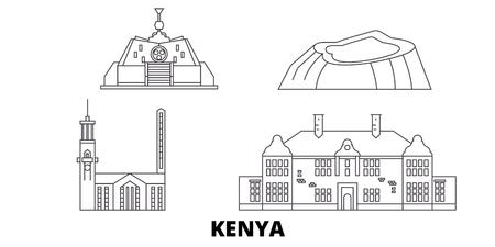 Kenya, Nairobi line travel skyline set. Kenya, Nairobi outline city vector panorama, illustration, travel sights, landmarks, streets. Иллюстрация