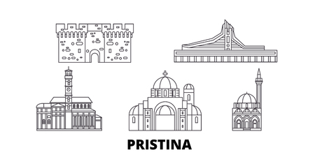 Kosovo, Pristina line travel skyline set. Kosovo, Pristina outline city vector panorama, illustration, travel sights, landmarks, streets.